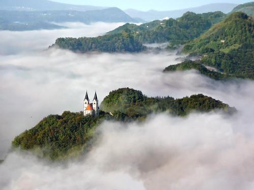 autumn church clouds forest landscape hill hills slovenia slovenija 2007 hum lasko laško smihel šmihel