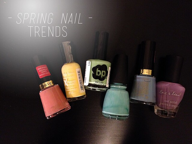 spring nail trends, rainbow pastel nail polish collection