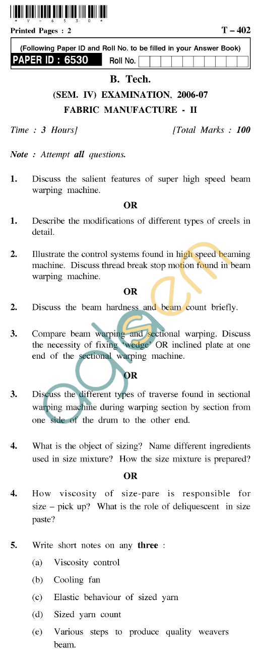 UPTU B.Tech Question Papers - T-402 - Fabric Manufacture-II