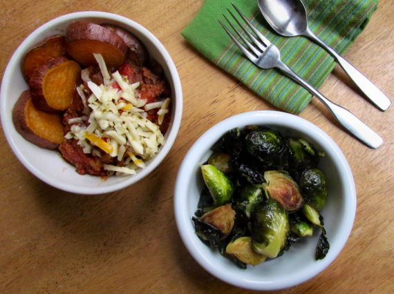 Brussels Sprouts and Chili with Sweet Potato and Cheese