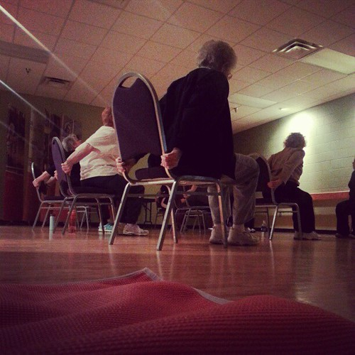That awkward moment when you bring your mat to a new yoga class and realize it's actually a seated senior citizen yoga class.