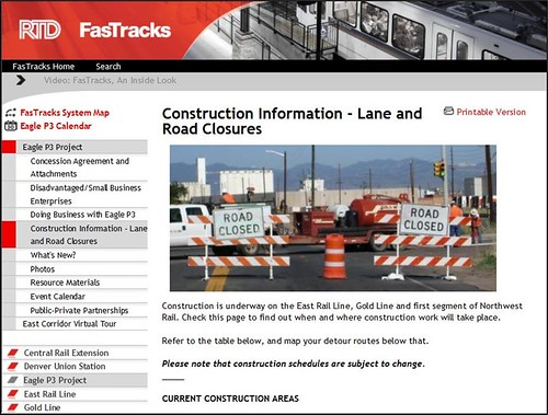 Screen shot of RTD FasTracks web page containing Eagle Project construction and detour information