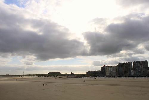 Blankenberge Beach and apartments wih coastline view