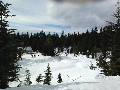 View over First Lake to Hollyburn Lodge