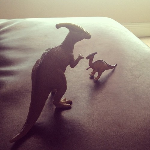 The #parasaurolophus family chillin' on the couch. #dinosaurs #toys