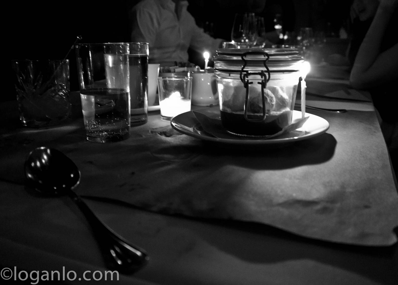 Black and white dinner setting