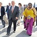 The Special Representative of the UN Secretary-General for Somalia (SRSG), Michael Keating, receives the Administrator of the United Nations Development Programme, Helen Clark, upon her arrival at Aden Abdulle Airport in Mogadishu, Somalia on August 24, 2
