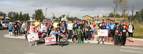 More than 70 costumed crusaders and ordinary heroes pose before the start of Saturday's CASA Superhero 5-kilometer run/walk on the Kenaitze campus in Old Town Kenai. With the support of many sponsors and volunteers, the event raised funds for the tribe's