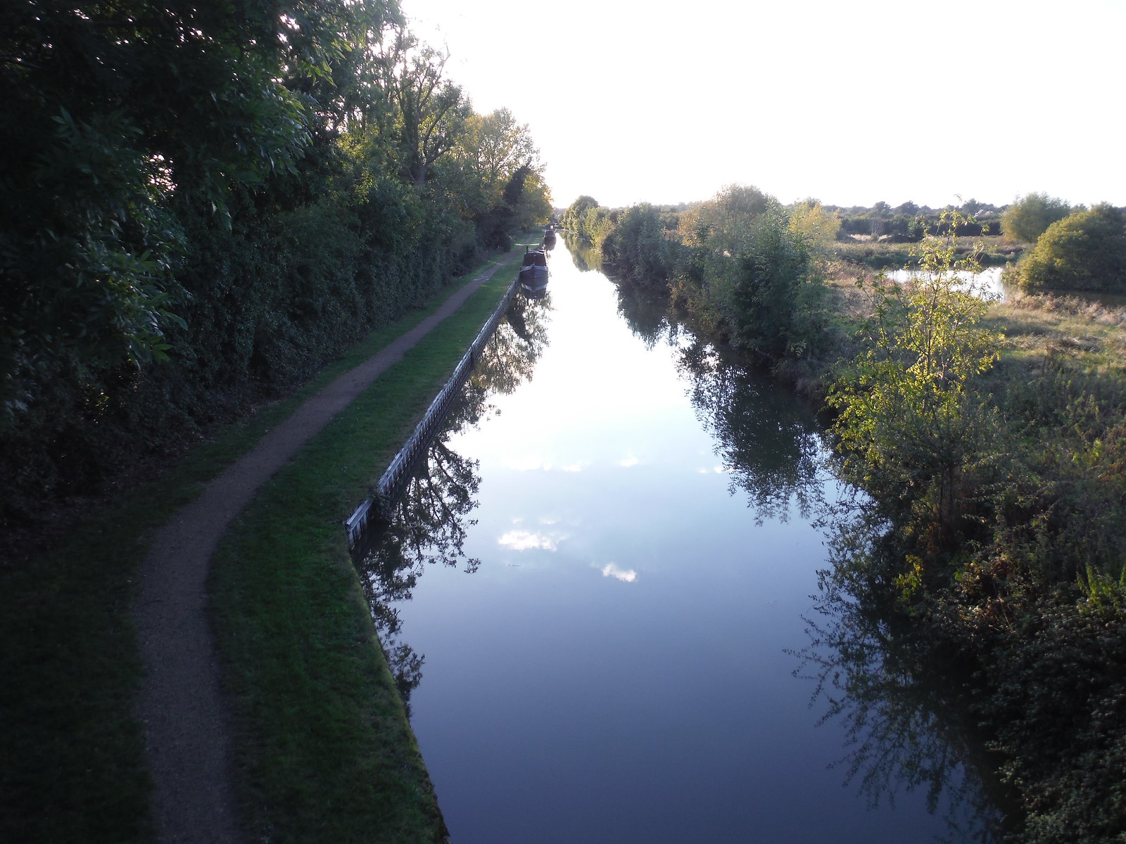 Grand Union Canal from brick arched bridge SWC Walk 194 Aylesbury Vale Parkway to Aylesbury