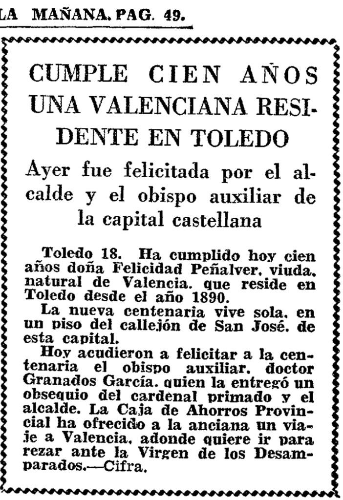 Felicidad Peñalver cumple 100 años. ABC del 19 de marzo de 1968.