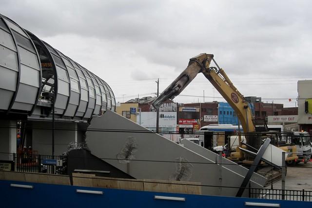 Footscray railway station footbridge being partially demolished