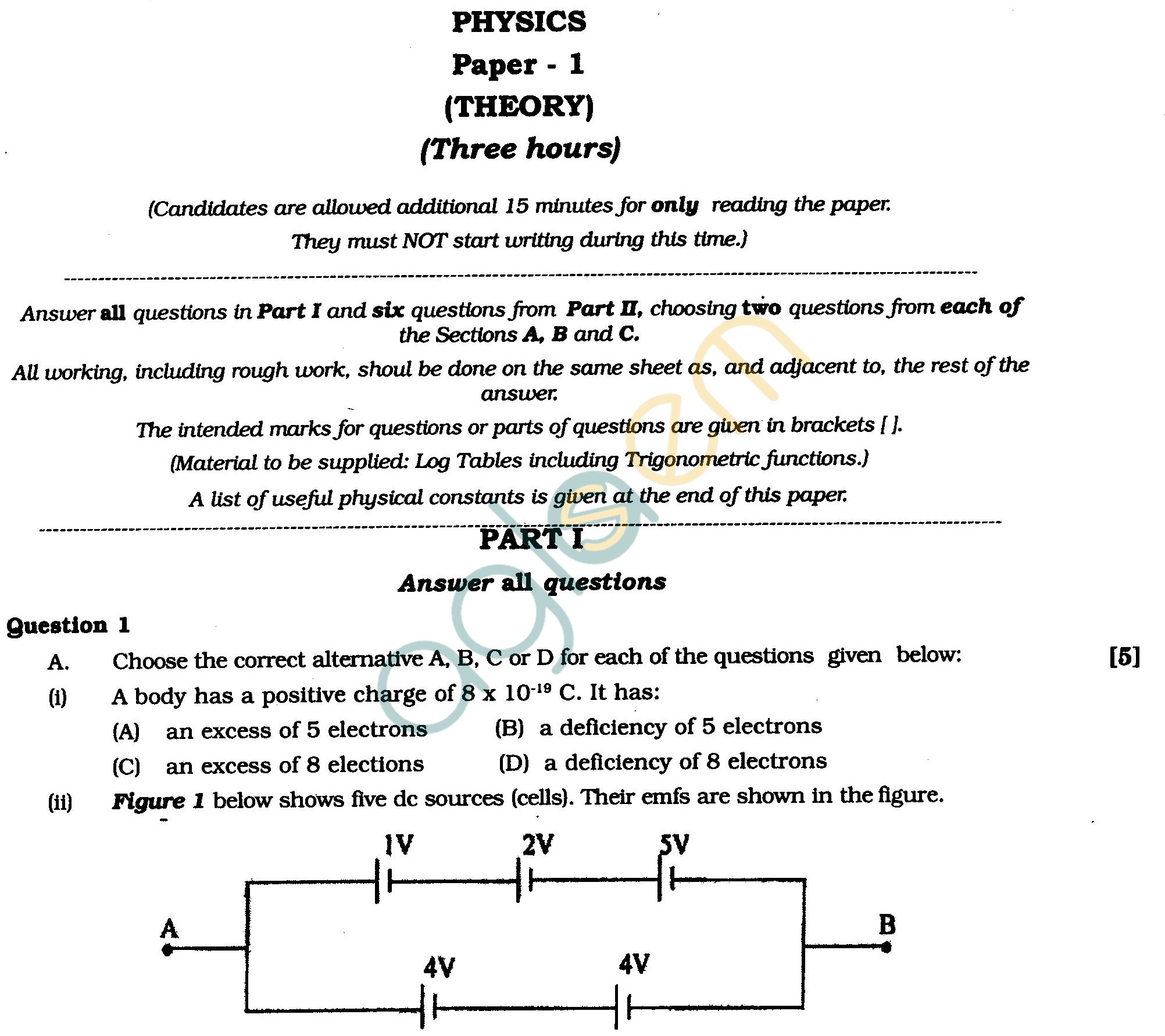 ISC Class XII Exam Question Papers 2012: Physics – AglaSem