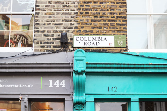 Columbia Road street sign Shoreditch in London