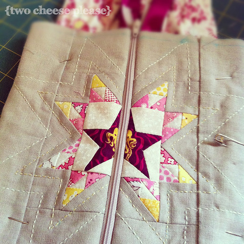 close up of patchwork star in dear jane pouch