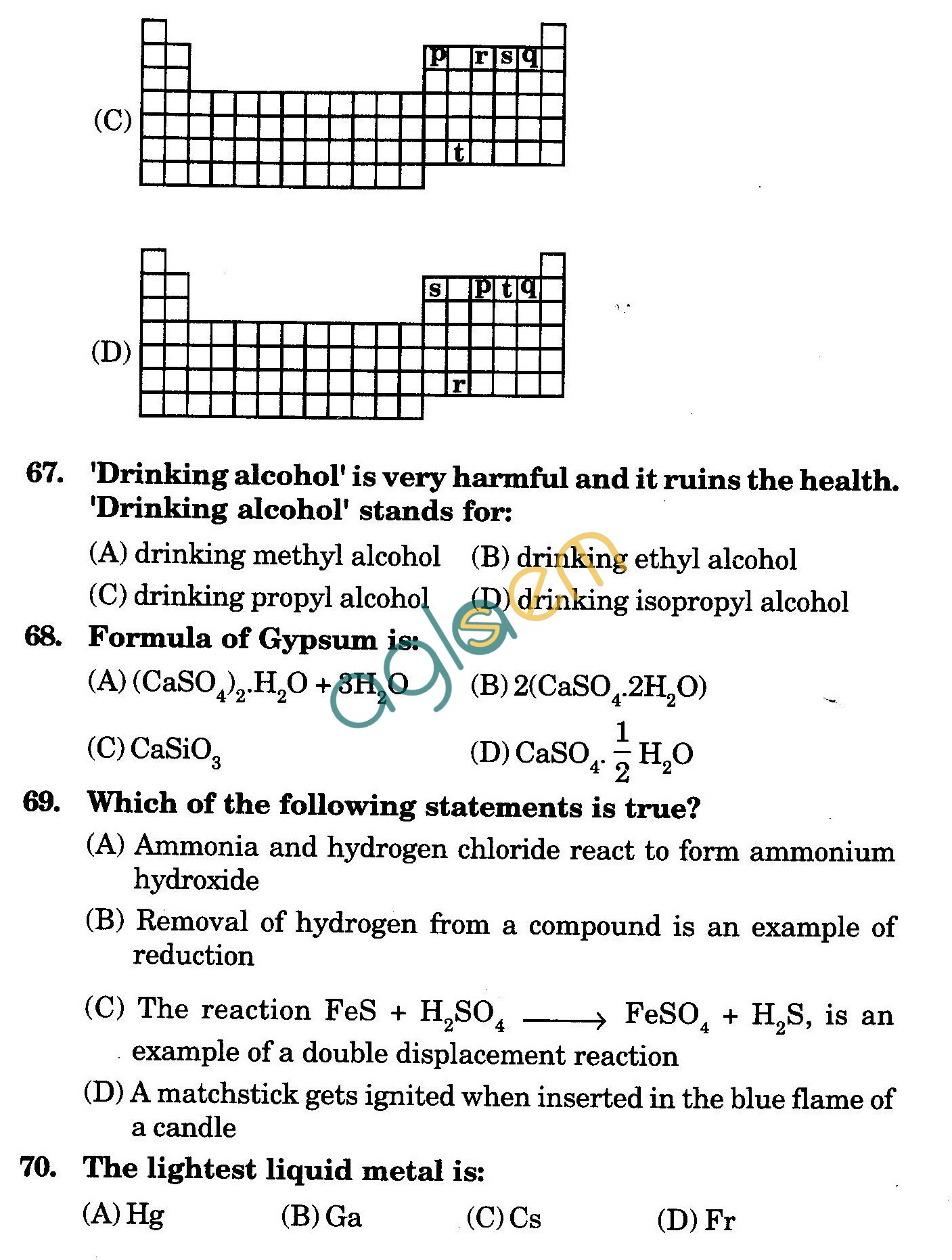 NSTSE 2009 Class X Question Paper with Answers - Chemistry