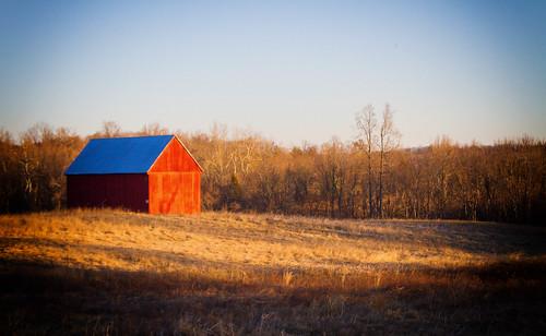 trees field barn sunrise farm magic hour