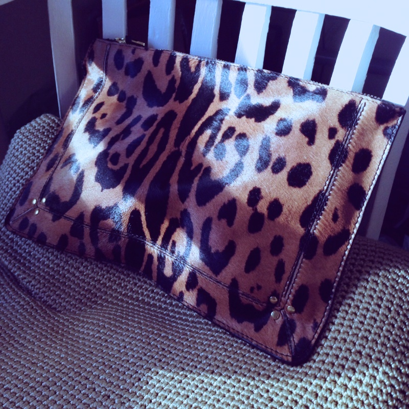 Jerome Dreyfuss Large leopard clutch
