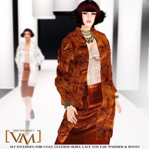 [VM] VERO MODERO _ Beren Fur Coat Set Caramel