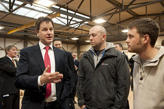 Nick Clegg talks to trainees