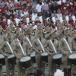 The Fightin Texas Aggie Band Performing At Halftime At Alabamas Bryant Denny Stadium