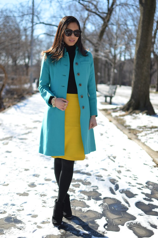 J Crew retro jade metro coat & mustard yellow skirt