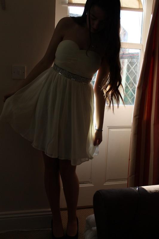 Chiara Fashion - white strapless sequin dress