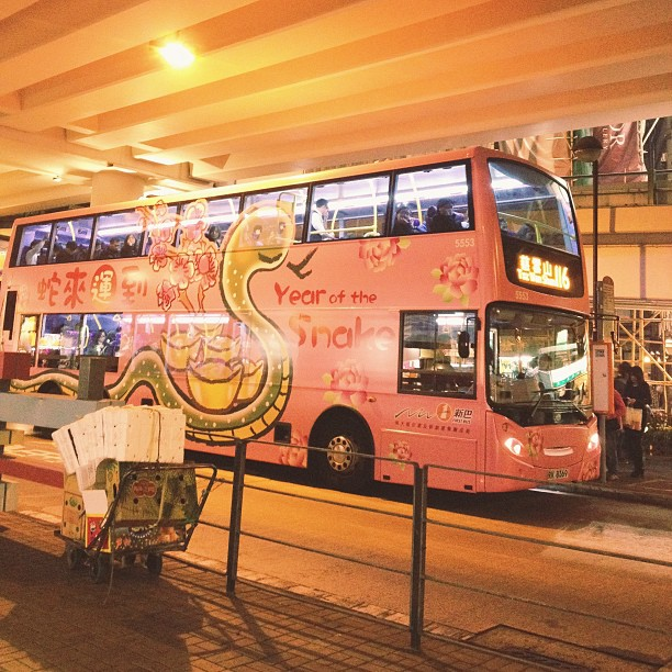 Year of the Snake. Pink bus. Chinese New Year in HK. #snake #cny #pink #city #hk #hongkong #bus