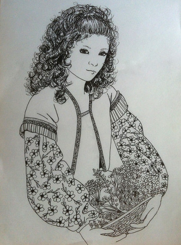 Girl with Curly Hair (Pen and Ink Drawing) by randubnick