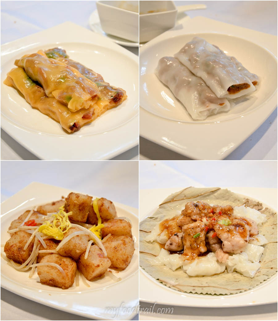 Cuisine Cuisine, The Mira, Hong Kong - Steamed carrot rice rolls with char siew, steamed rice roll with minced beef, pork spare ribs with rice noodle, stir fried turnip cake with xo sauce