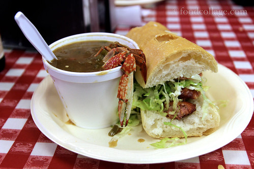 Half Alligator Sausage Po-Boy with Seafood Gumbo at Johnny's Po-Boys (New Orleans)