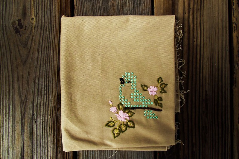 X stitch bird embroidery