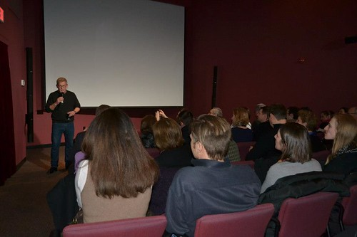 AGCS Founder Greg Poirier introducing the filmmaker — at Letelier Theater.