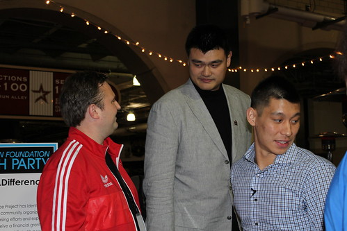 February 14th, 2013 - Yao Ming meets up with Jeremy Lin and Rockets GM Daryl Morey at the Jeremy Lin Foundation charity event