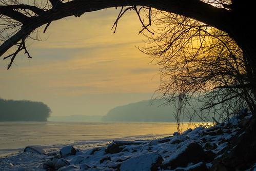 winter sunset mississippiriver sdgiere