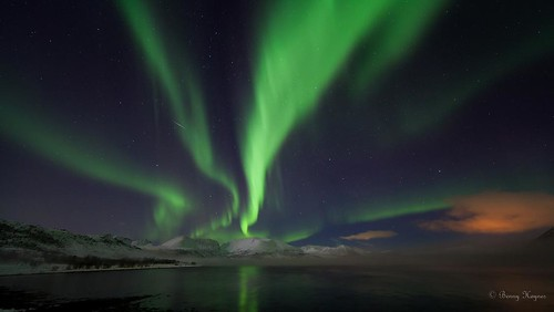 Buksnesfjord, Andøya island, Norway, aurora and frosty smoke and a shooting star ay 17. feb 2013