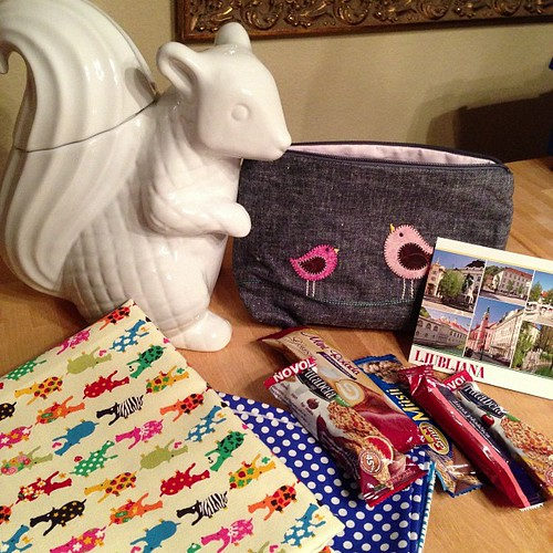 50:365 Lots of goodies today!! Fabric, Pouch Swap with sweets from Slovenia, and a giant squirrel.