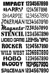 FONTS for custom roller derby armbands and helmet stickers