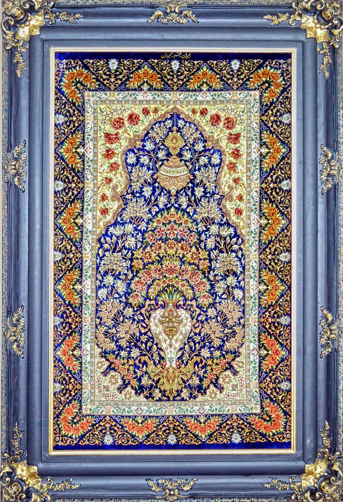 Flower In Vase Silk Persian Tableau Rug Pictorial Carpet