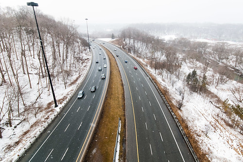 Don Valley Parkway in Winter flurries from Millwood bridge - #55/365 by PJMixer