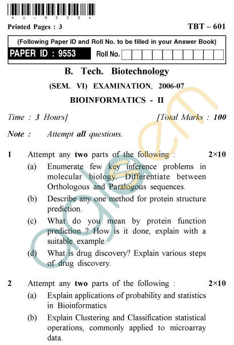 UPTU B.Tech Question Papers - TBT-601 - Bioinformatics-II