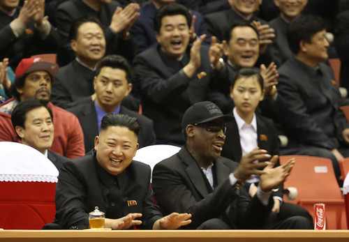 Democratic People's Republic of Korea (DPRK) leader Kim Jong Un with former NBA Champion Dennis Rodman in Pyongyang. The basketball delegation are inside the country representing the Harlem Globetrotters. by Pan-African News Wire File Photos