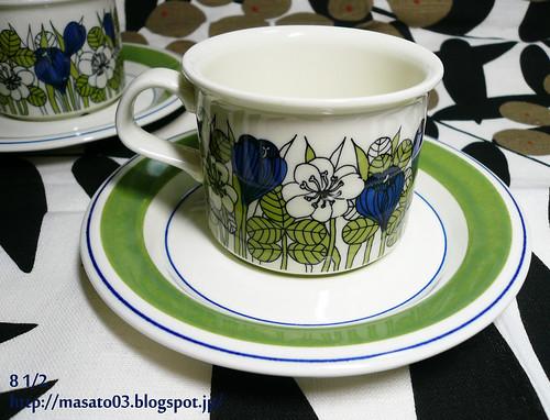 ARABIA FINLAND KROKUS Tea Cups with Saucers 3