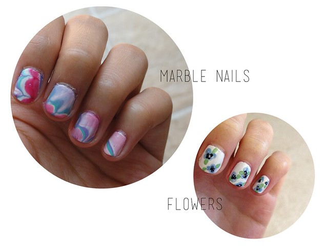 marble nail tutorial, flower nail tutorial, nail art for spring