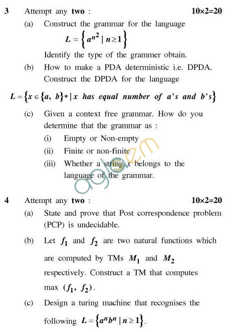 UPTU B.Tech Question Papers - CS-404-Theory of Automata & Formal Languages