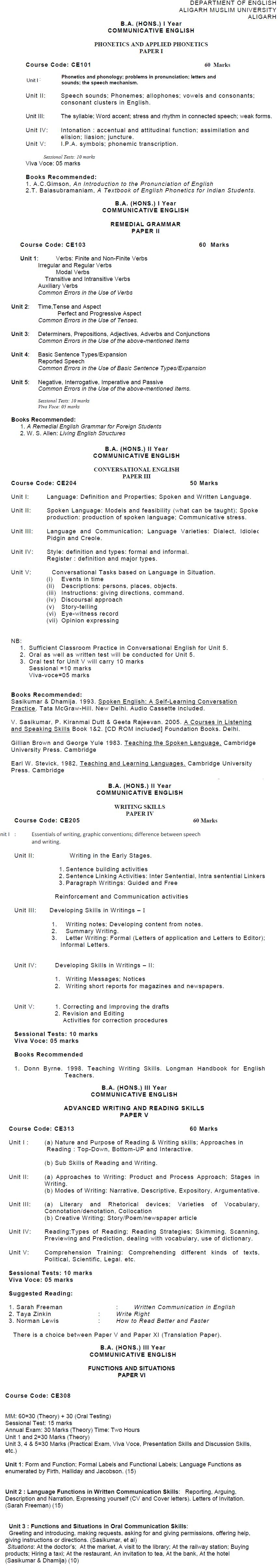 AMU Syllabus - Arts - M. A. English/M. A. ELT