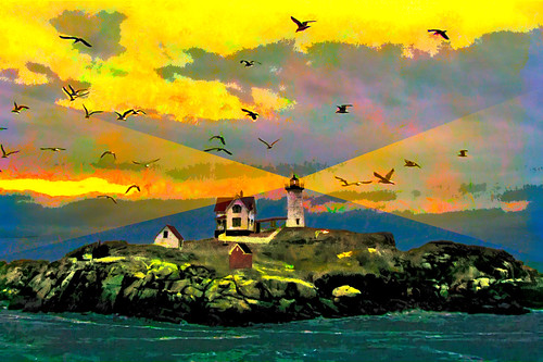 lighthouse maine nubble york beams ships storm green yellow color style flickr photoshop google bing yahoo image birds flying stumbleupon facebook national geographic liberty colorized france sky daum colorful imaginztion unique crazy colors bright light cheerful happy hue saturation blend rich photo pin android colourful red blue white air eye art landscape interesting creative surreal avant guarde