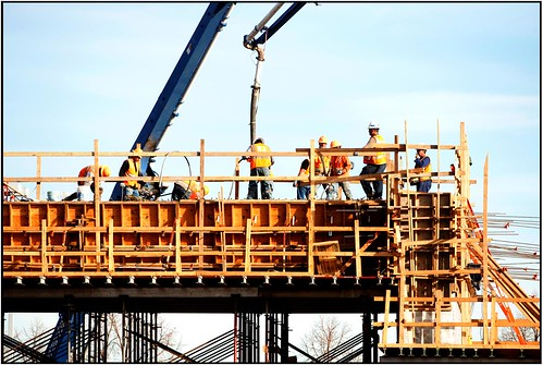 Photo of concrete pour for box girder on the Jersey Cutoff bridge