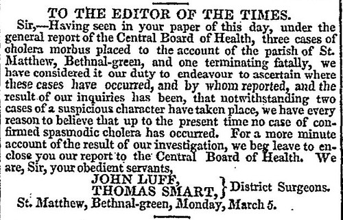 John Luff letter to editor The Times (London) 6 March 1832