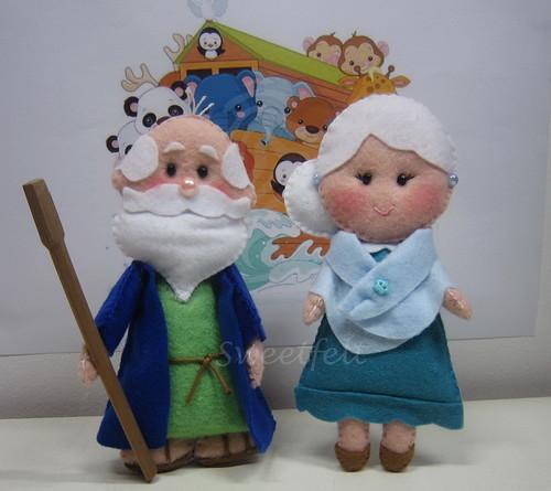 ♥♥♥ Começando uma arca de Noé! Que vos parece o meu Sr. Noé e esposa? by sweetfelt \ ideias em feltro