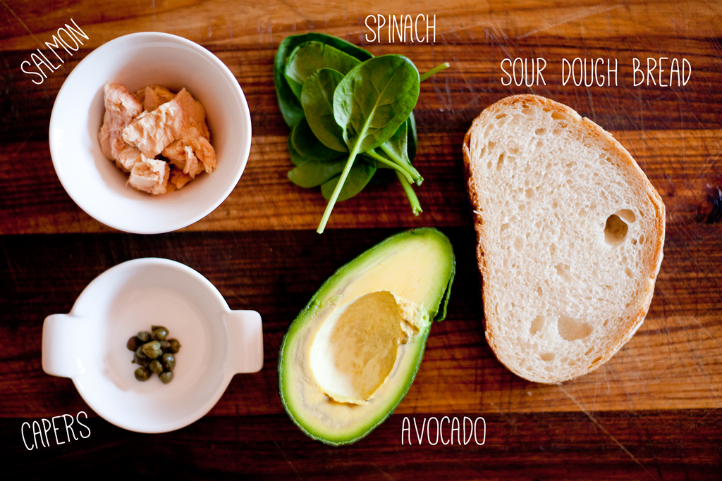 lunch // bruschetta ~ super salmon ingredients list